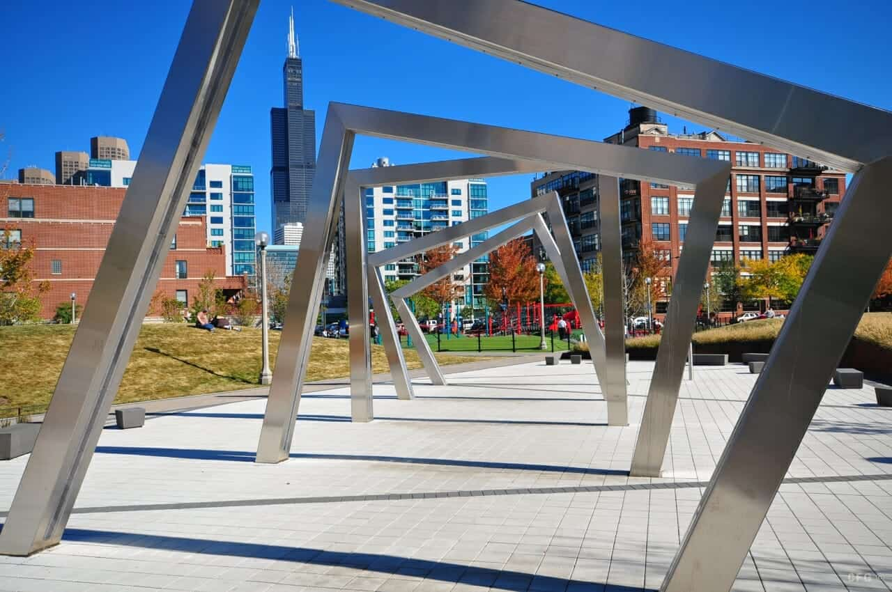 Photo of the Water sculpture at Mary Bartelmy Park in Chicago's West Loop neighborhood with Sears - Willis Tower in the background.