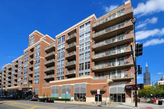 Exterior photo of the condos at 111 S. Morgan Street, Chicago, IL 60607