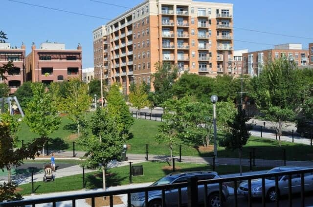 View of Mary Bartelmy Park from Monroe Manor Condo