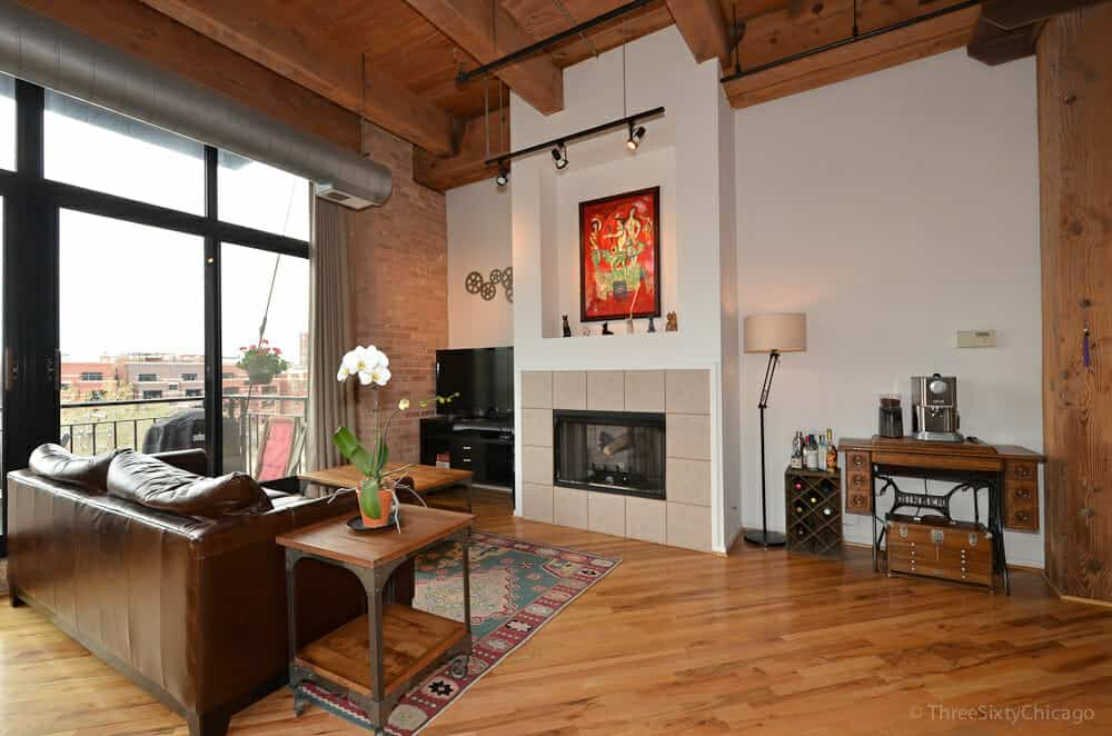 the brick condo furniture. Photo Of A Chicago Loft With Exposed Red Brick Walls, Massive Timber Beamed High Ceilings The Condo Furniture