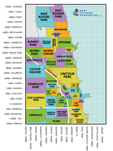 A real estate map search of Chicago neighborhoods where each distinctive neighborhood is in a different color - yellow, green, blue, purple and orange.