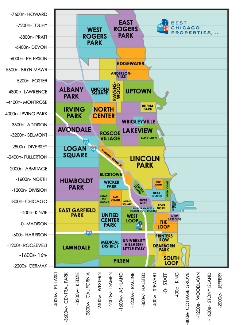 Chicago neighborhood map guide showing chicago neighborhoods with cross streets