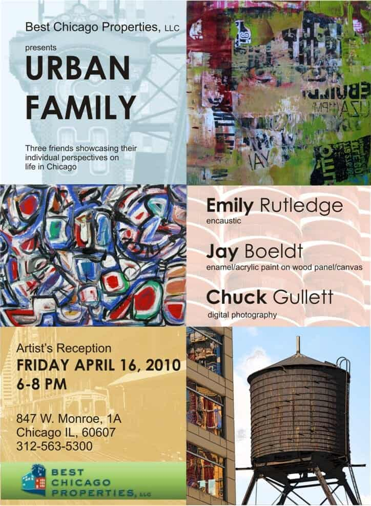 Urban Family - April 16, 2010 - Postcard showing two colorful works of art and one photograph of an old chicago water tower