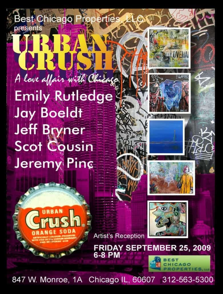 Yellow and purple flyer for the Best Chicago Properties Art Show entitled Urban Crush