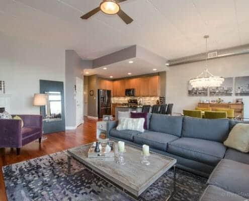 West Loop Two Bed Plus Den Condo - Living Area