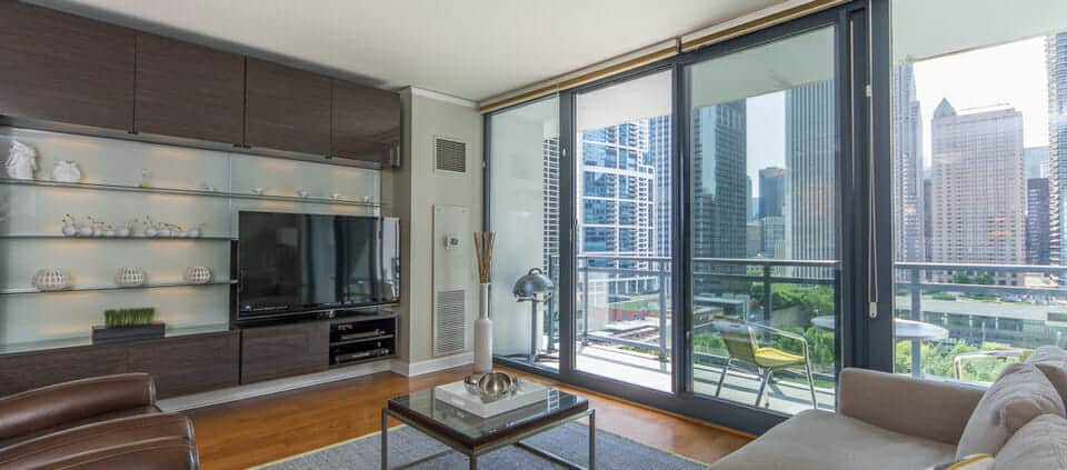 Condo With Views Of Lakeshore East Park 201 North Westshore Drive Living Area