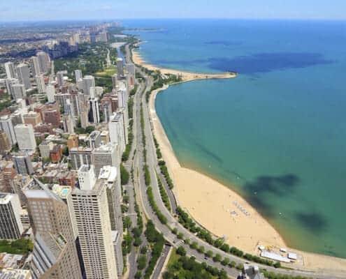 Gold Coast Condos For Sale - Arial view of Lake Michigan and Gold Coast Condos along Lakeshore Drive