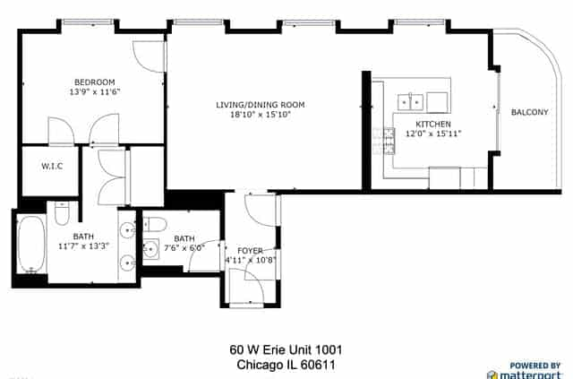 60 West Erie Street #1001 Floor Plan