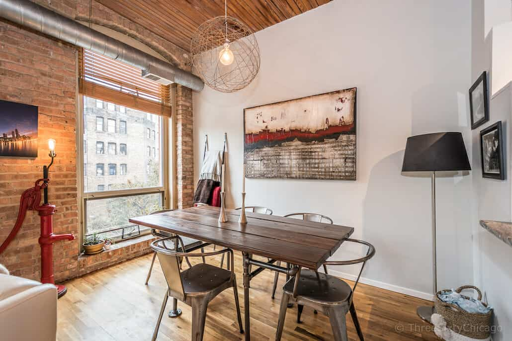 Chicago River North timber loft - den or dining