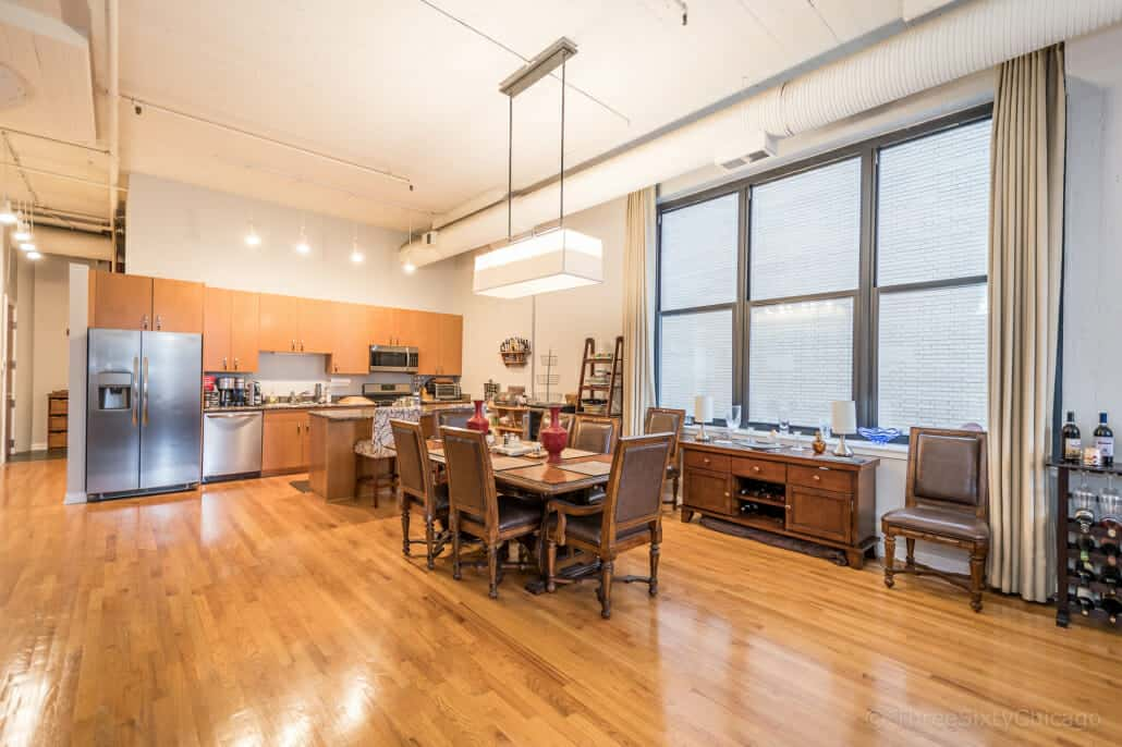 Printers Row Concrete Loft Kitchen And Dining