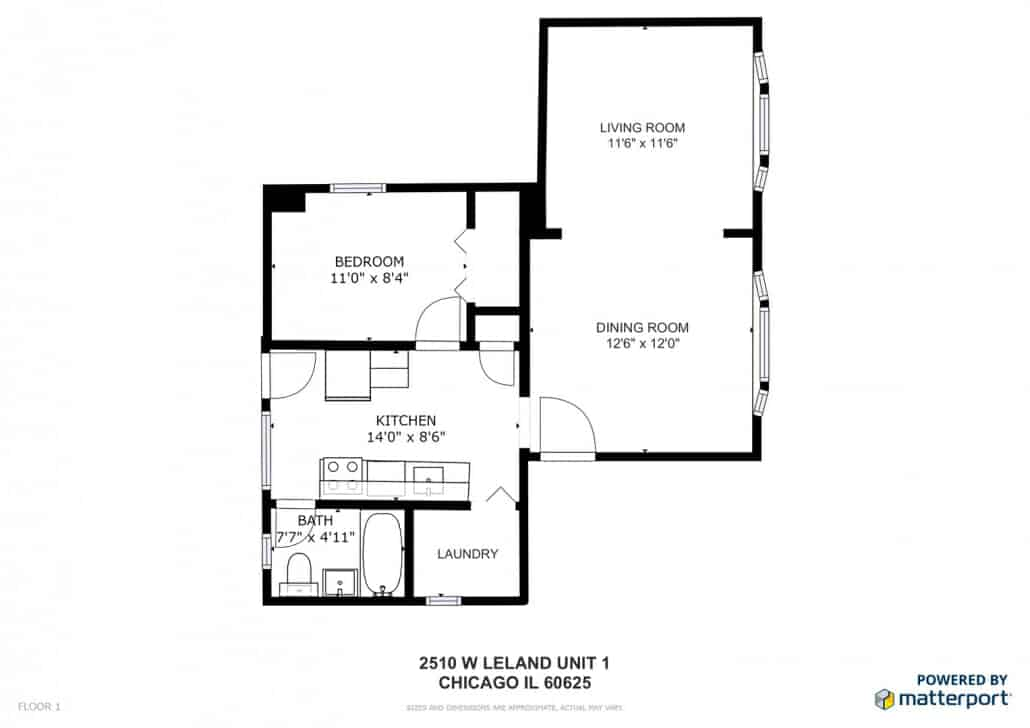 Floor plan of 2510 W Leland Ave, Unit 1, Chicago IL 60625