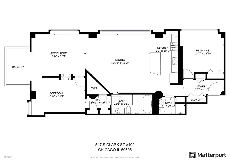 547 S Clark Street, Unit 402, Chicago IL - Floor Plan