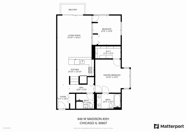 Immaculate West Loop Corner Unit at 949 W Madison unit 201 - Floorplan