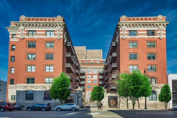 Exterior of Trevi Square Lofts at 1439 S Michigan Ave, Chicago IL