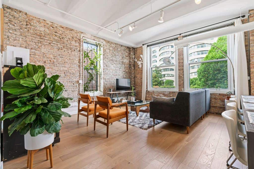 Living Area in Printer's Row loft renovation at 801 S Wells, Unit 401 Chicago IL