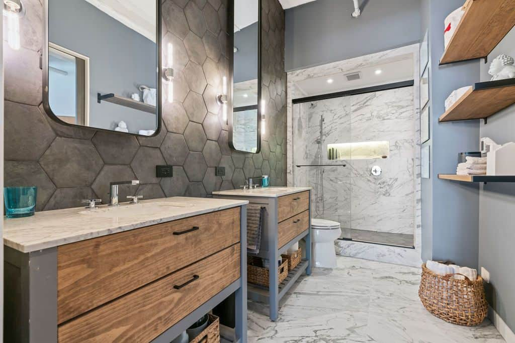 Stunning bathroom renovation at Printer's Row loft renovation at 801 S Wells, Chicago IL