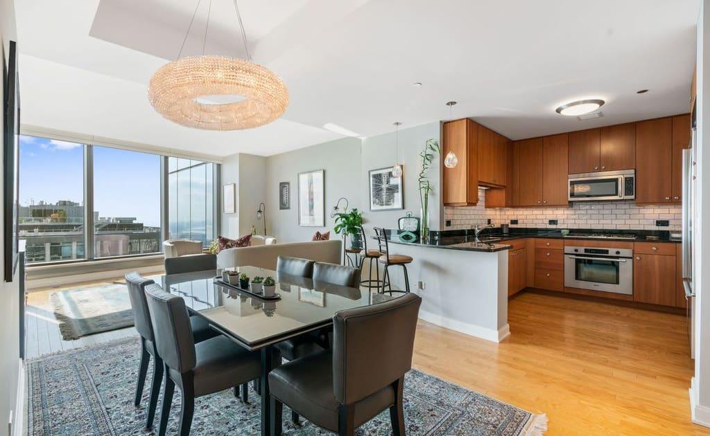 60 E Monroe Street, Unit 5403, Chicago IL 60603 - Living, Dining, Kitchen