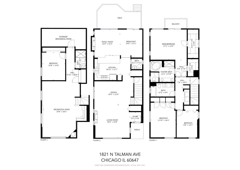 1821 North Talman Ave Floor Plan - West Bucktown Home