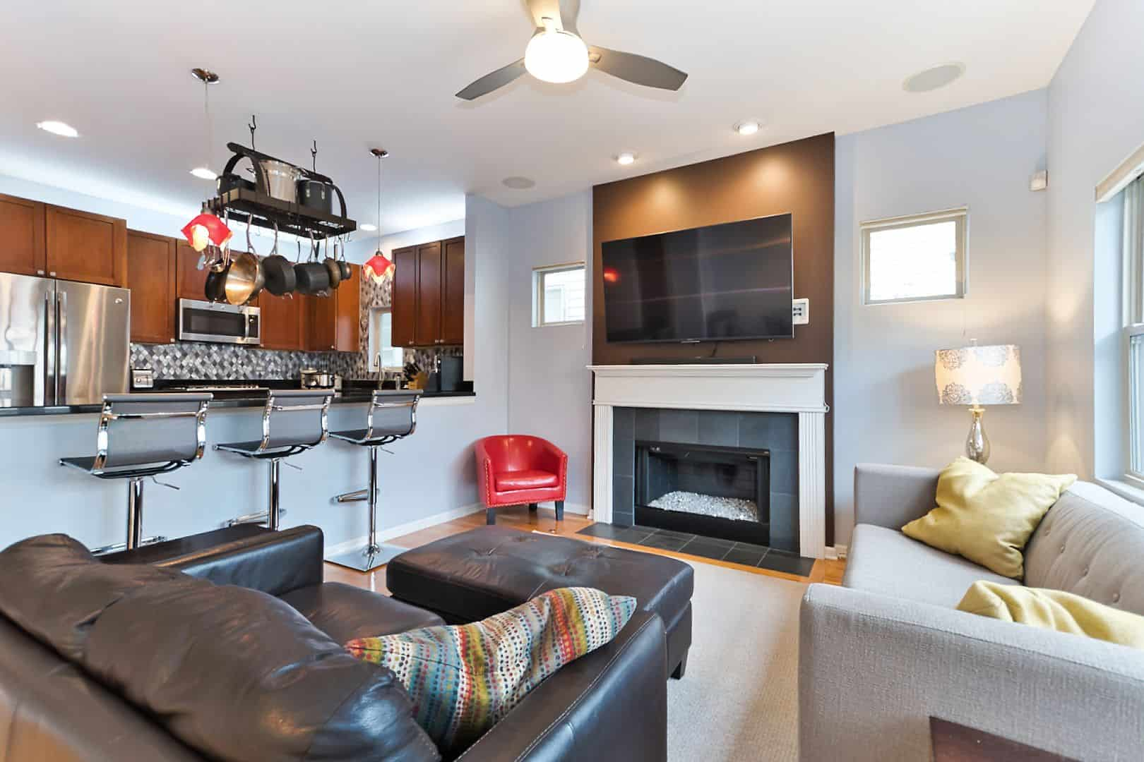 1821 North Talman Ave - West Bucktown Home - Family Room and Kitchen