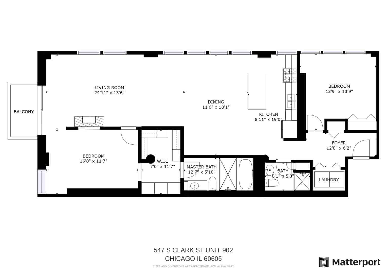 547 S Clark Street, Unit 902, Chicago, IL 60605 - Floor Plan