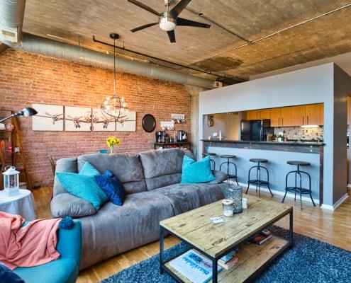 Printer's Row Concrete Loft - 621 S Plymouth Court, Unit 810, Chicago IL 60605 USA - Living - Kitchen