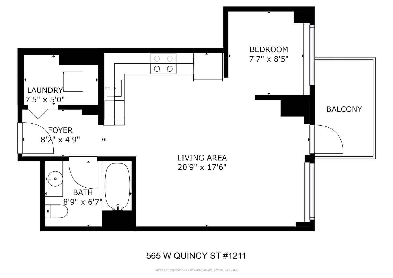 West Loop Junior One Bedroom Condo - 565 W Quincy Street, Unit 1211, Chicago, IL 60661 - Floor Plan