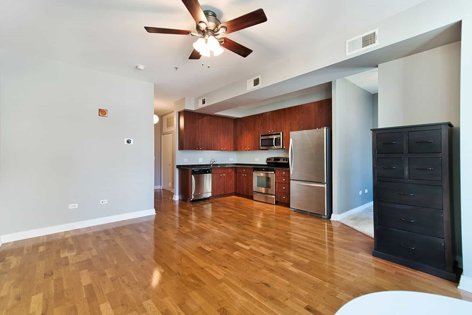 West Loop Junior One Bedroom Condo - 565 W Quincy Street, Unit 1211, Chicago, IL 60661 - Living - Dining - Kitchen