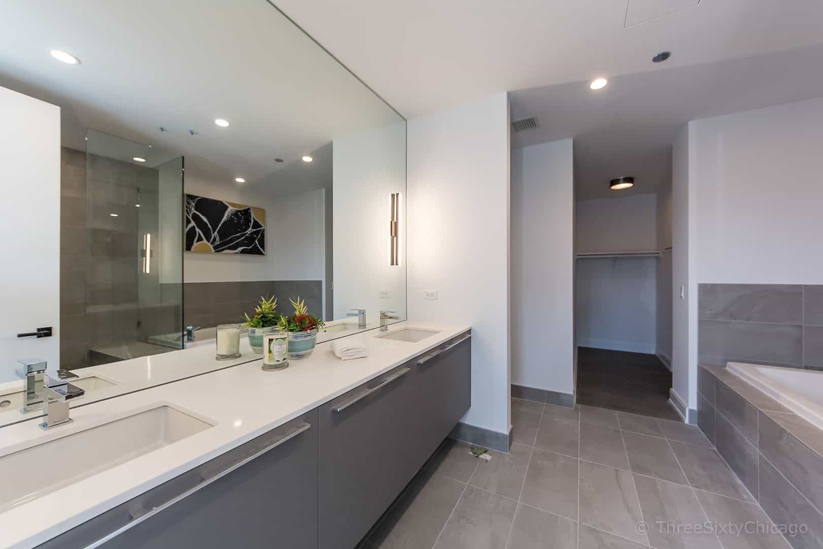 Owners suite bath in unit 809 - West Loop Luxury Condo at Illume, 111 S Peoria, Chicago IL 60607