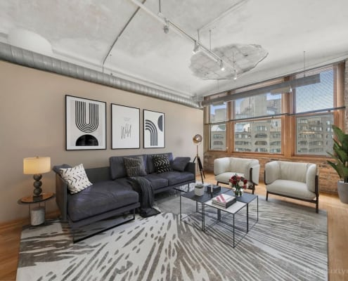 Two Bedroom Authentic Printer's Row Loft - Living Area
