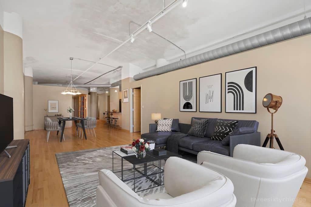 Two Bedroom Authentic Printer's Row Loft - Living