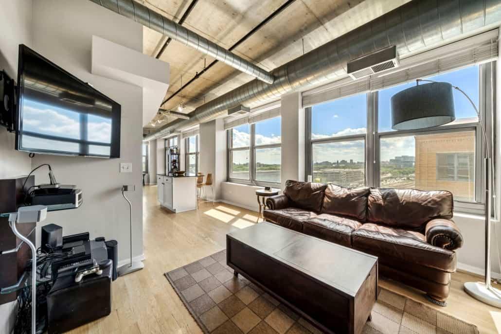 West Loop Two Bedroom End-Unit Condo - Living Area