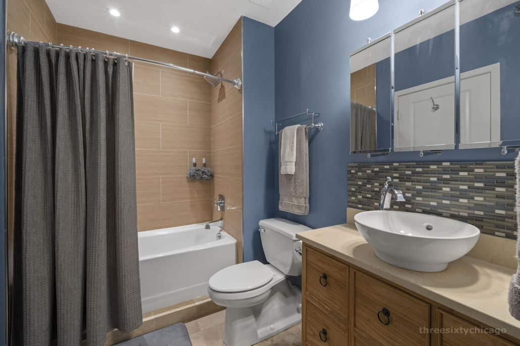 Bathroom - 417 S Jefferson, Unit 102B, Chicago IL 60607 - One Bedroom brick & timber loft