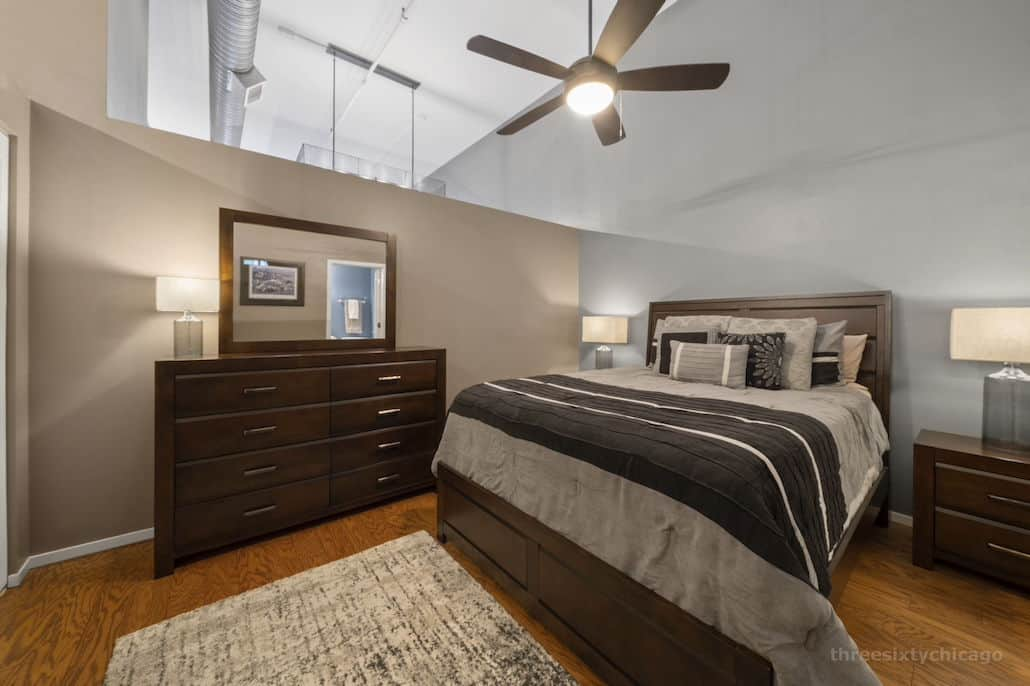 Bedroom - 417 S Jefferson, Unit 102B, Chicago IL 60607 - One Bedroom brick & timber loft