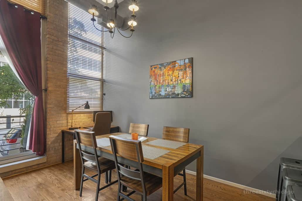 Dining : Home Office Area - 417 S Jefferson, Unit 102B, Chicago IL 60607 - One Bedroom brick & timber loft
