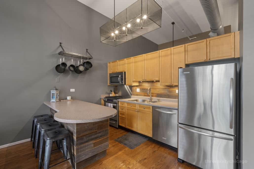 Kitchen - 417 S Jefferson, Unit 102B, Chicago IL 60607 - One Bedroom brick & timber loft