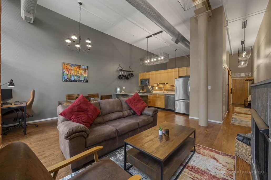 Living Area 2 - 417 S Jefferson, Unit 102B, Chicago IL 60607 - One Bedroom brick & timber loft