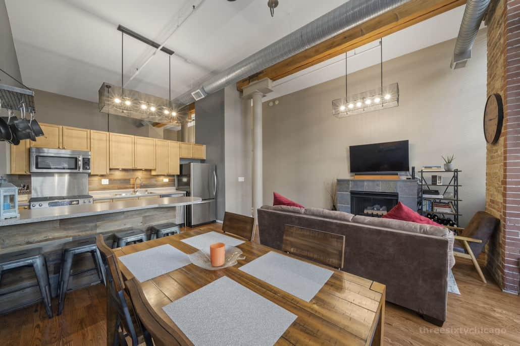 Living Area 3 - 417 S Jefferson, Unit 102B, Chicago IL 60607 - One Bedroom brick & timber loft
