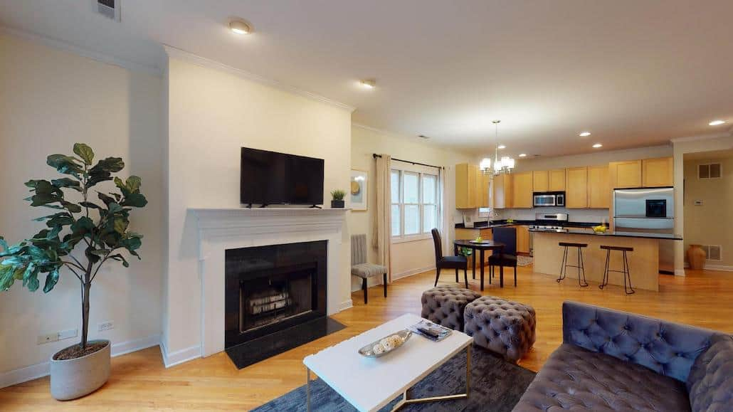 Living-Dining-Kitchen in this Old Town two bedroom condo at 1515 N Cleveland.